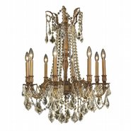 W83306FG24-GT Windsor 8 light French Gold Finish and Golden Teak Crystal Chandelier