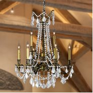 Windsor Collection 9 Light Antique Bronze Finish and Clear Crystal Cast Brass Chandelier Two 2 Tier