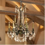 Windsor Collection 9 Light Antique Bronze Finish and Golden Teak Crystal Cast Brass Chandelier Two 2 Tier