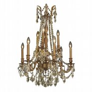 Windsor 9 light French Gold Finish and Golden Teak Crystal Chandelier Two 2 Tier