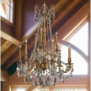 Windsor 9 Light French Gold Finish and Clear Crystal Chandelier Two 2 Tier