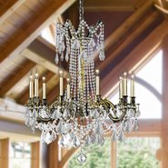 Windsor 10 light Solid Cast Brass in Antique Bronze Finish with Clear Crystal Chandelier