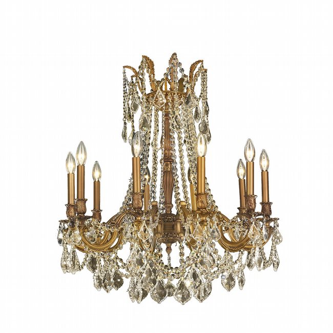 W83308FG28-GT Windsor 10 lights French Gold Finish and Golden Teak Crystal Chandelier