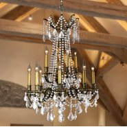 Windsor Collection 12 Light Antique Bronze Finish and Clear Crystal Cast Brass Chandelier Two 2 Tier