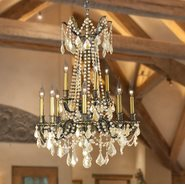 Windsor Collection 12 Light Antique Bronze Finish and Golden Teak Crystal Cast Brass Chandelier Two 2 Tier