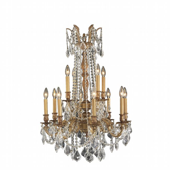 W83309FG24-CL Windsor 12 Light French Gold Finish and Clear Crystal Chandelier Two 2 Tier