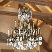 Windsor 15 light Solid Cast Brass Antique Bronze Finish with Clear Crystal Chandelier