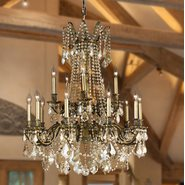 W83310B28-GT Windsor 15 light Solid Cast Brass in Antique Bronze Finish with Golden Teak Crystal Chandelier