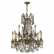 W83310BP28-GT Windsor 15 Light Antique Bronze Finish and Golden Teak Crystal Chandelier Two 2 Tier