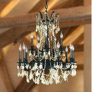 W83310F28-GT Windsor 15 Light Flemish Brass Finish Golden Teak Crystal Chandelier
