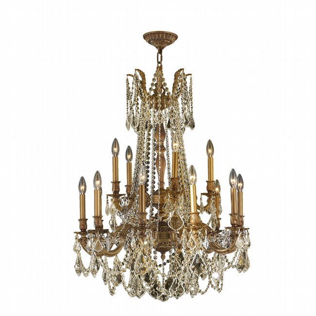 W83310FG28-GT Windsor 15 light French Gold Finish and Golden Teak Crystal Chandelier Two 2 Tier
