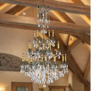 Windsor 25 light Solid Cast Brass in Antique Bronze Finish with Clear Crystal Chandelier