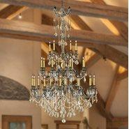 Windsor 25 Light Solid Cast Brass Antique Bronze Finish with Golden Teak Crystal Chandelier