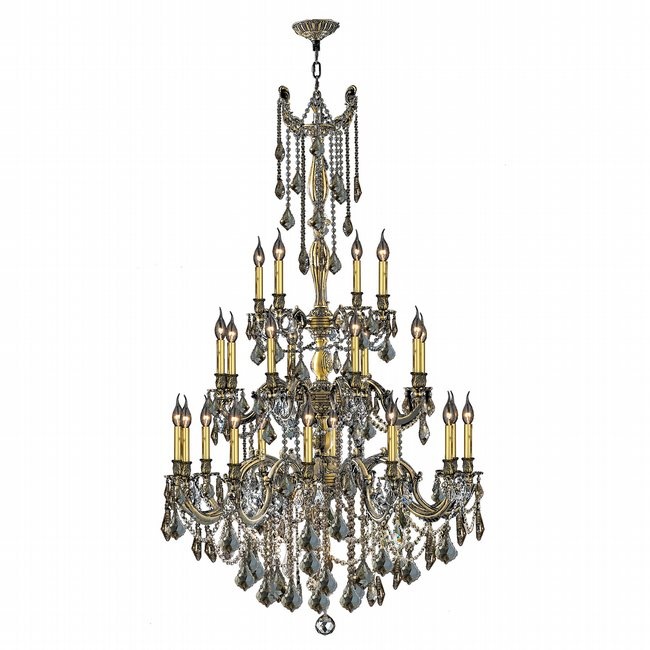 W83311BP38-GT Windsor 25 Light Antique Bronze Finish and Golden Teak Crystal Chandelier Three 3 Tier