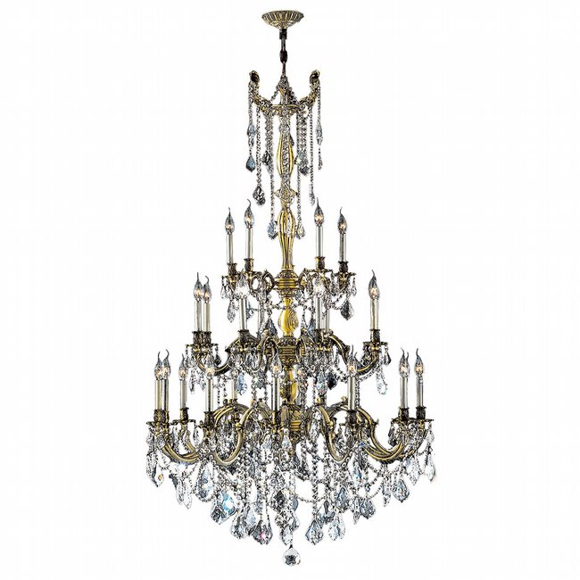 W83311BP38-CL Windsor 25 Light Antique Bronze Finish and Clear Crystal Chandelier Three 3 Tier