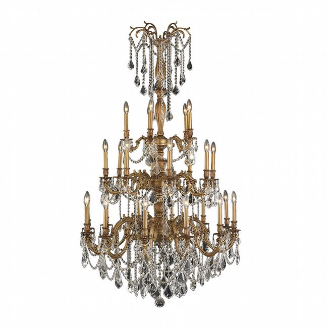W83311FG38-CL Windsor 25 Light French Gold Finish and Clear Crystal Chandelier Three 3 Tier