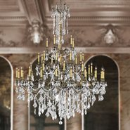 Windsor Collection 45 Light Antique Bronze Finish and Clear Crystal Cast Brass Chandelier Four 4 Tier