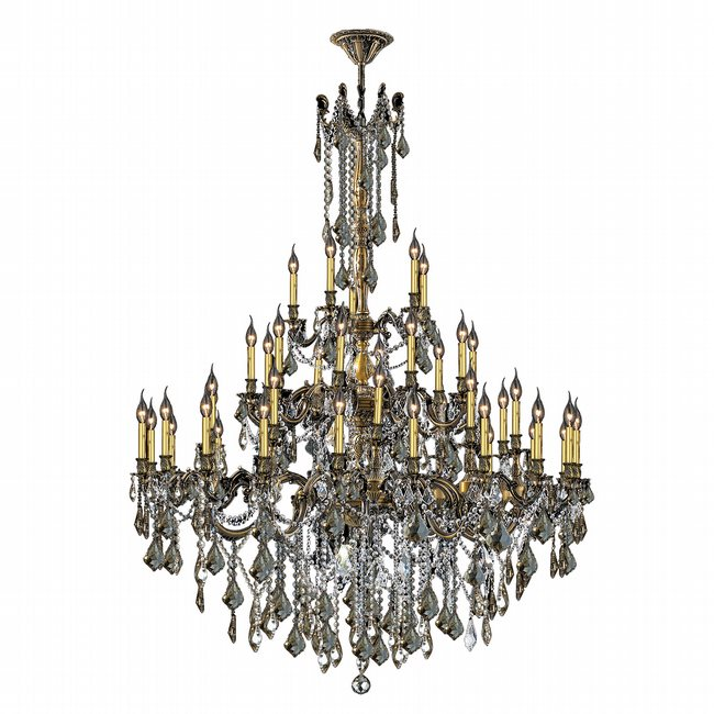 W83312BP54-GT Windsor 45 Light Antique Bronze Finish and Golden Teak Crystal Chandelier Three 3 Tier
