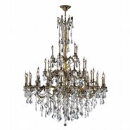 W83312BP54-CL Windsor 45 light Antique Bronze Finish and Clear Crystal Chandelier Three 3 Tier