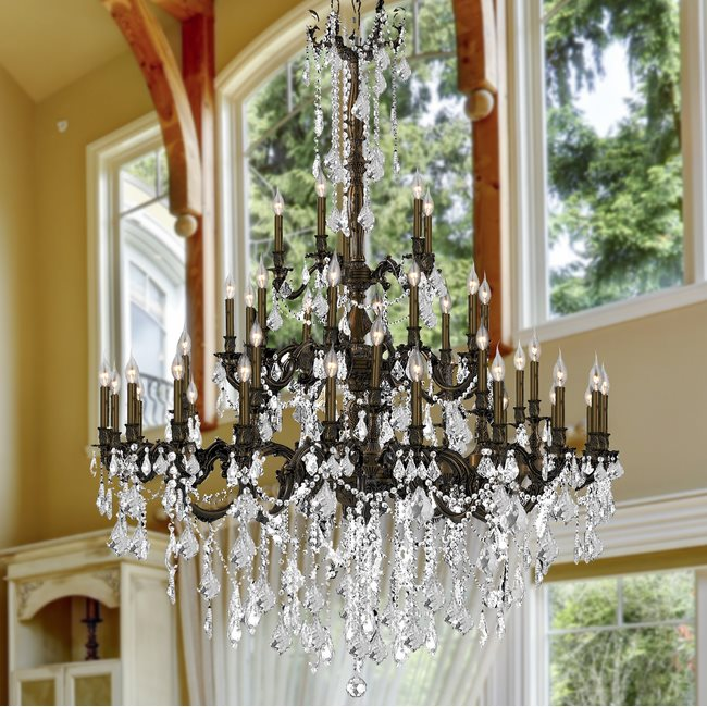 W83312F54-CL Windsor 45 light Flemish Brass Finish with Clear Crystal Chandelier
