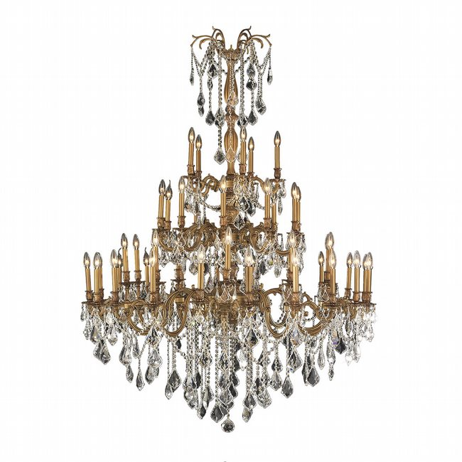 W83312FG54-CL Windsor 45 Light French Gold Finish and Clear Crystal Chandelier Three 3 Tier