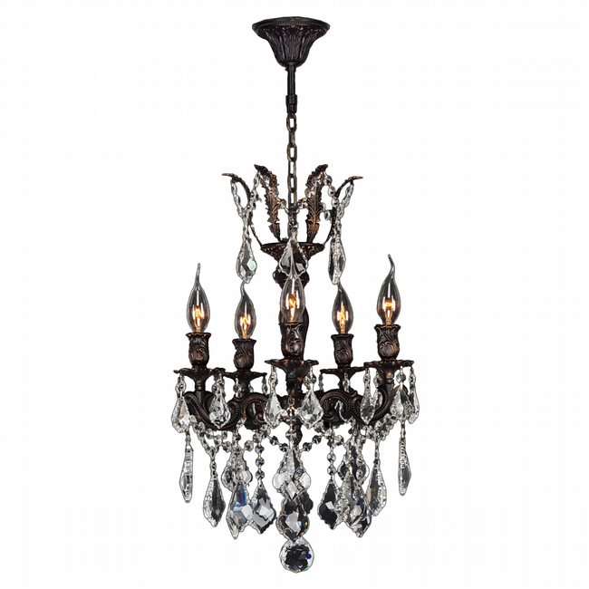 W83319F15 Versailles 5 Light Flemish Brass Finish with Clear Crystal Chandelier