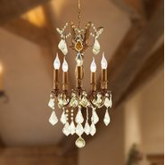 W83319FG15-GT Versailles 5 light French Gold Finish with Golden Teak Crystal Chandelier