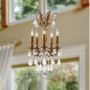 W83319FG15 Versailles 5 light French Gold Finish with Clear Crystal Chandelier