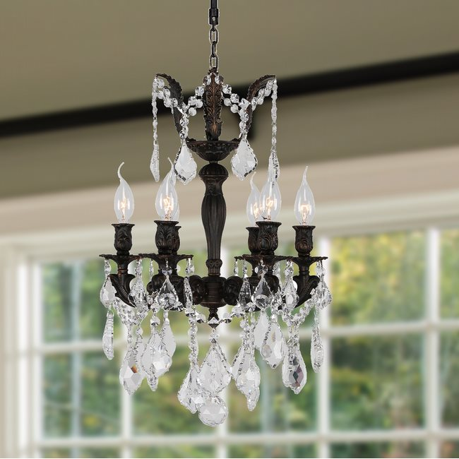 W83320F15 Versailles 6 Light Flemish Brass Finish and Clear Crystal Chandelier