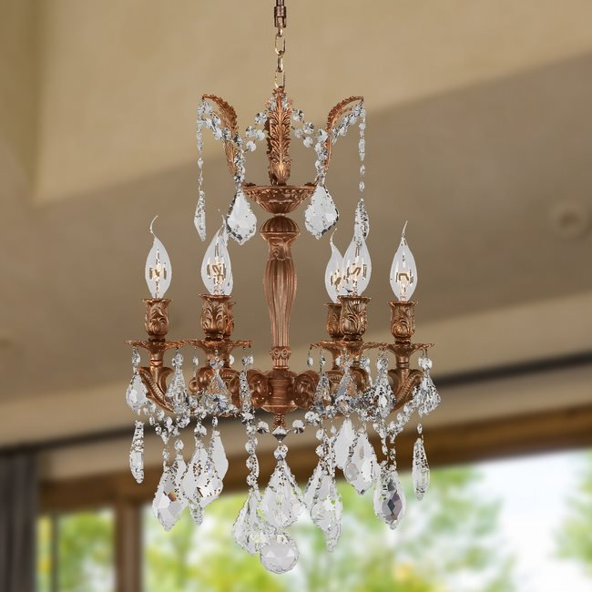 W83320FG15 Versailles 6 light French Gold Finish with Clear Crystal Chandelier