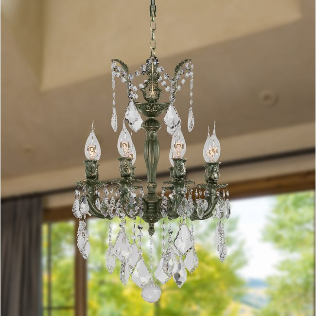 W83321B16 Versailles 8 Light Antique Bronze Finish with Clear Crystal Chandelier