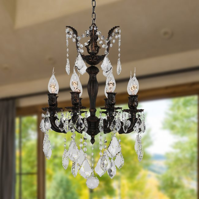 W83321F16 Versailles 8 Light Flemish Brass Finish with Clear Crystal Chandelier
