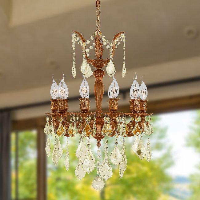 W83322F17-GT Versailles 10 light Flemish Brass Finish with Golden Teak Crystal Chandelier