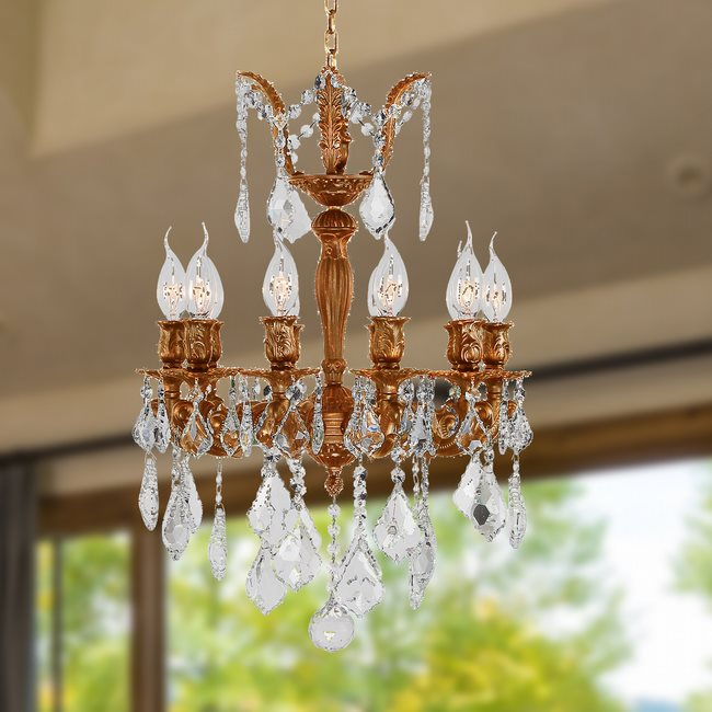 W83322FG17 Versailles 10 light French Gold Finish with Clear Crystal Chandelier