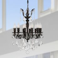 W83323F17 Versailles 12 Light Flemish Brass Finish with Clear Crystal Chandelier