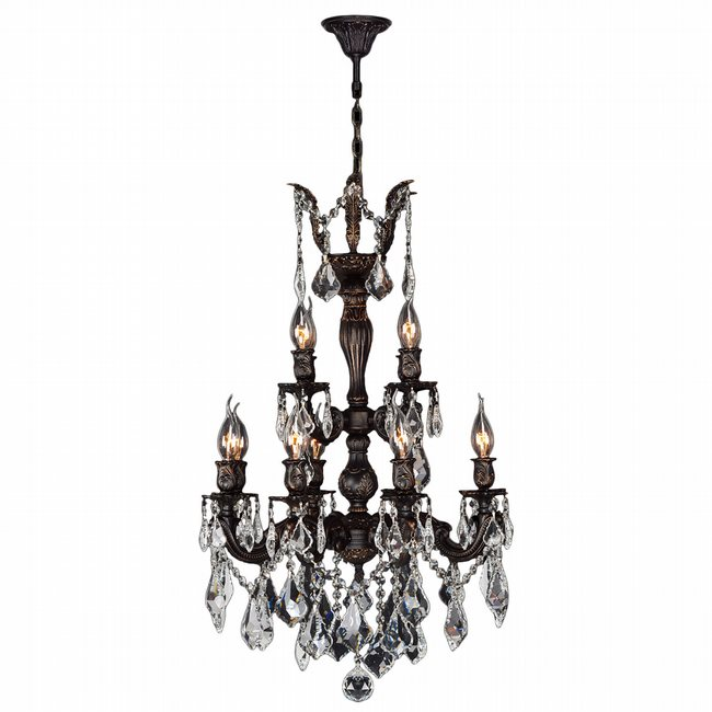 W83324F21 Versailles 12 light Flemish Brass Finish with Clear Crystal Chandelier