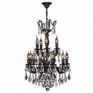 W83325F21 Versailles 15 Light Flemish Brass Finish and Clear Crystal Chandelier Two 2 Tier