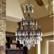 W83326F21 Versailles 18 Light Flemish Brass Finish and Clear Crystal Chandelier