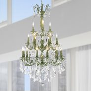 W83327B29 Versailles 21 Light Antique Bronze Finish and Clear Crystal Chandelier