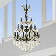 W83327F29-GT Versailles 21 light Flemish Brass Finish with Golden Teak Crystal Chandelier