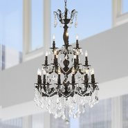W83327F29 Versailles 21 light Flemish Brass Finish with Clear Crystal Chandelier