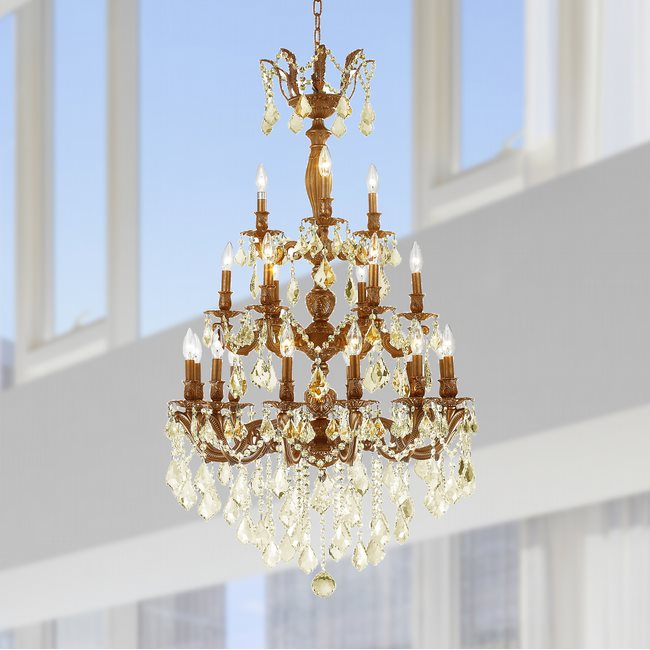 W83327FG29-GT Versailles 21 light French Gold Finish with Golden Teak Crystal Chandelier