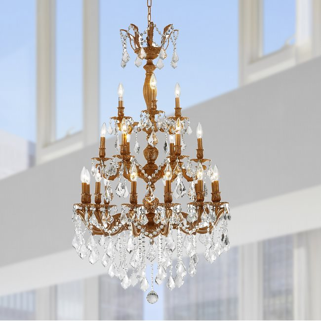 W83327FG29 Versailles 21 light French Gold Finish with Clear Crystal Chandelier