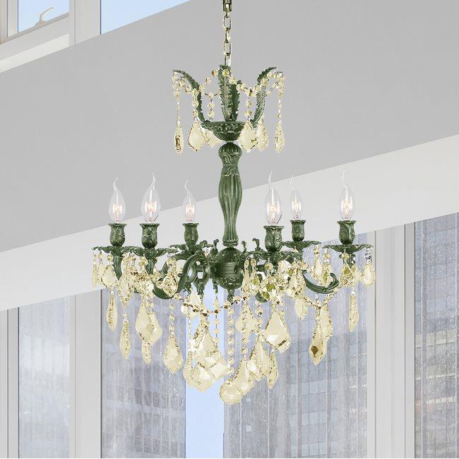W83328B23-GT Versailles 6 light Antique Bronze Finish with Golden Teak Crystal Chandelier