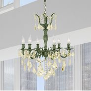 W83328B23-GT Versailles 6 light Antique Bronze Finish with Golden Teak Crystal Chandelier