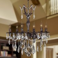 W83328F23 Versailles 6 Light Flemish Brass Finish and Clear Crystal Chandelier