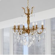 W83328FG23 Versailles 6 light French Gold Finish with Clear Crystal Chandelier