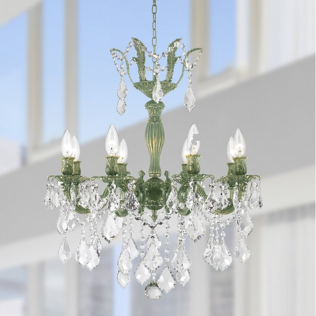 W83329B23 Versailles 8 Light Antique Bronze Finish with Clear Crystal Chandelier