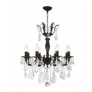 Versailles 8 Light Flemish Brass Finish with Clear Crystal Chandelier