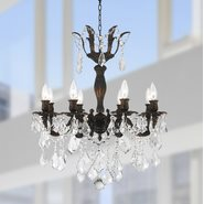 W83329F23 Versailles 8 Light Flemish Brass Finish with Clear Crystal Chandelier